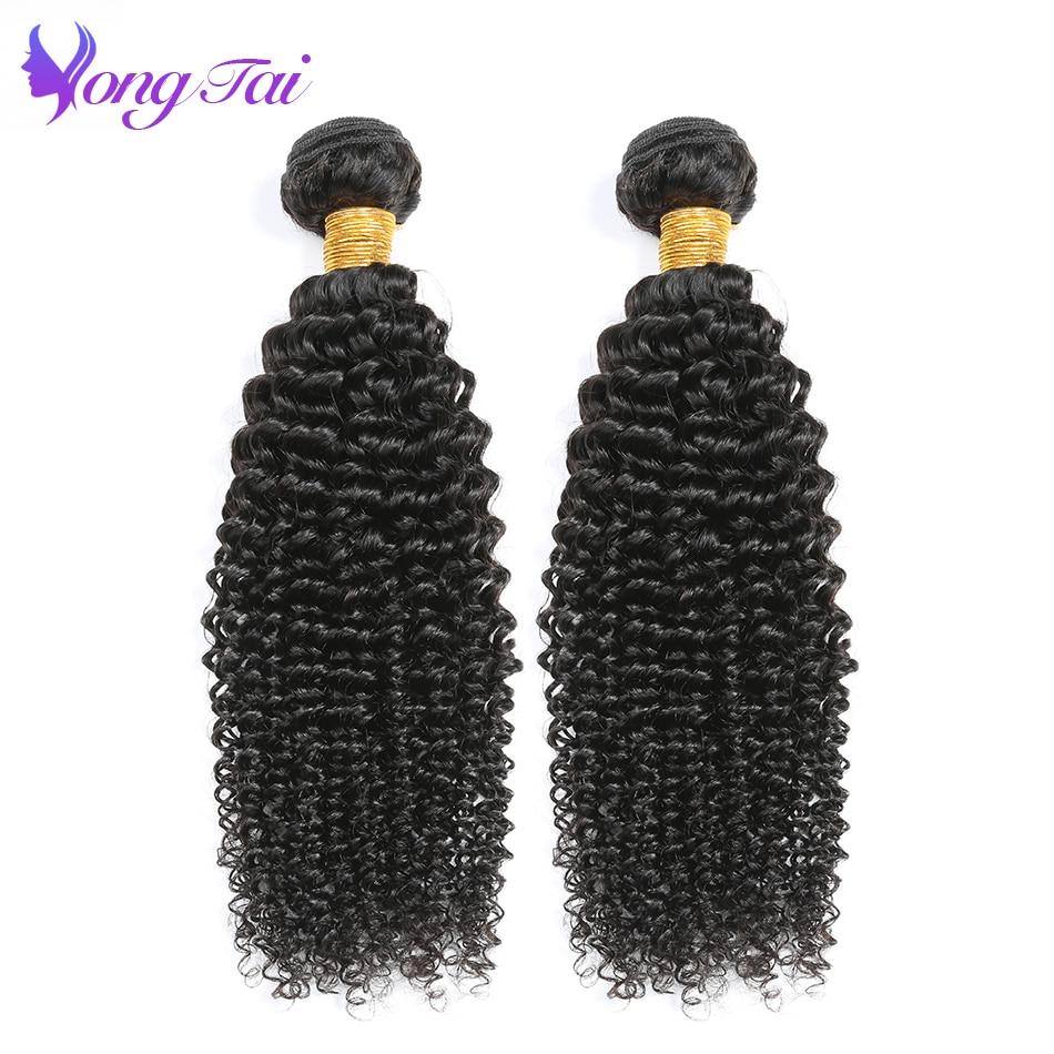 Yuyongtai Hair Extension Remy Hair 2 Bundles 10-26 Inch Natural Color Brazilian Hair Kinky Curly Bundles Human Hair