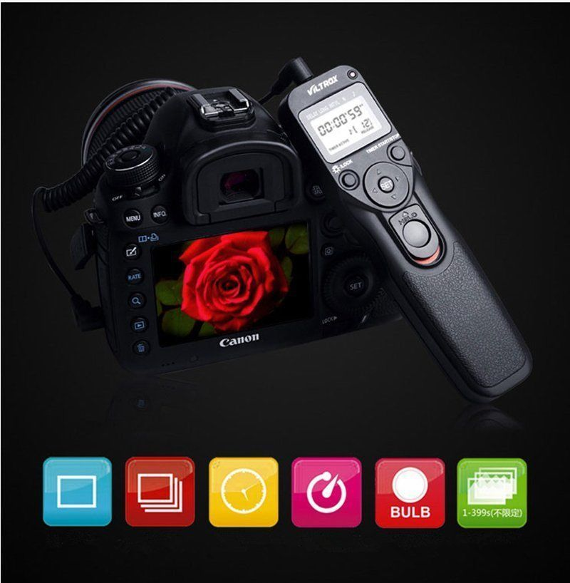 VILTROX Canon 300D 400D 500D 용 Pentator K100D K110D 용 케이블이있는 시간 경과 인터벌 타이머 타이머 원격 제어 셔터