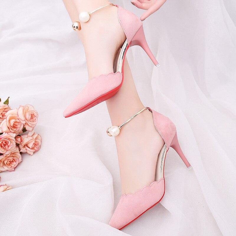 Moda verde Las Mostrar Hebilla 2019 Metal Punta Mujer Negro Delgadas Patente Elegante Tacón rosado Sólido rojo Cuero Mujeres Alto Perla Zapatos Es De RxY6q