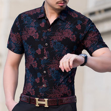 Summer Shirt Men Short Sleeve Floral Shirt 2017 Summer Fashion Male Flower Print Casual Shirts Mercerized