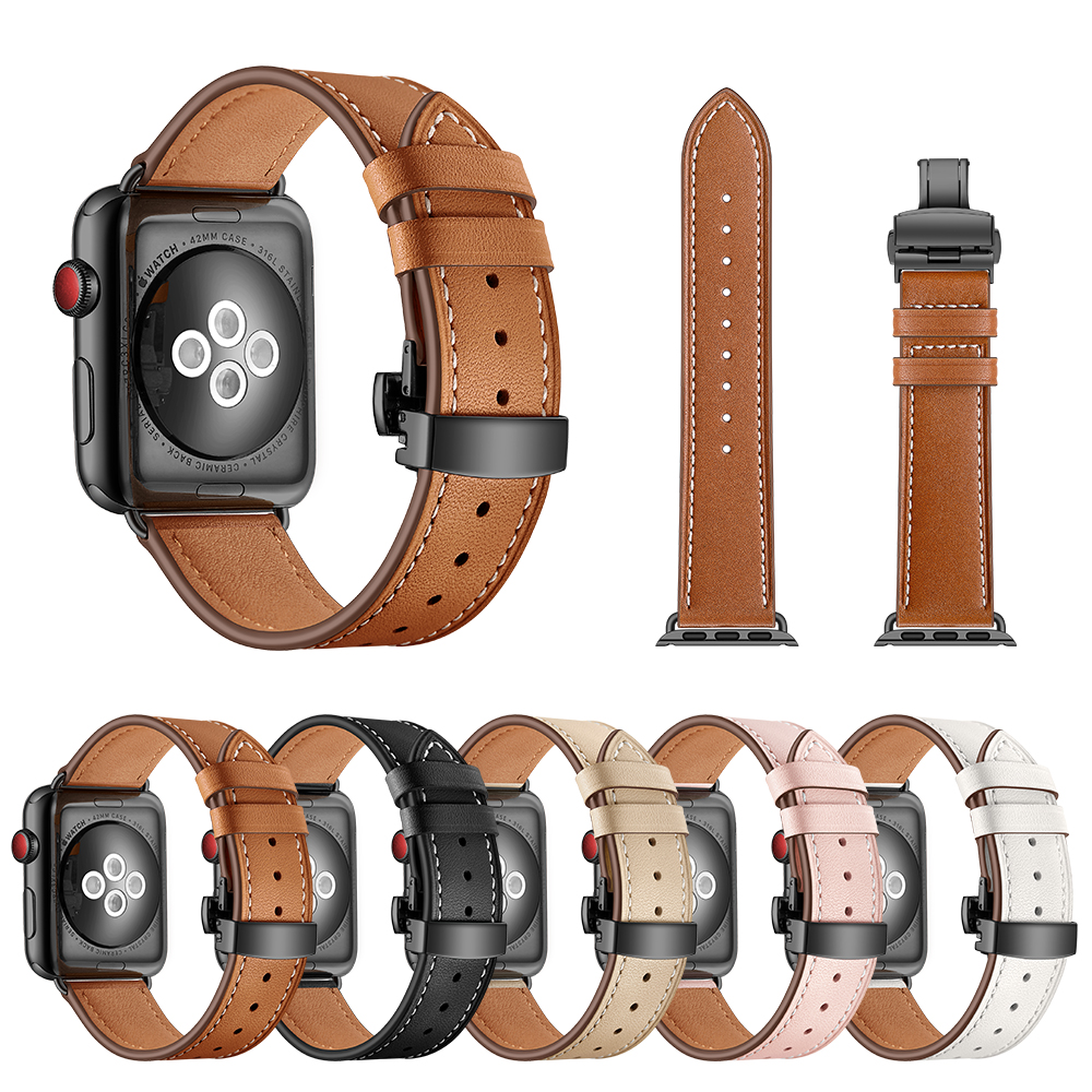 EIMO Butterfly Loop band strap For Apple watch 44mm 40mm Leather bracelet iwatch series 4/3/2/1 Wrist Bracelet Watchband Belt stainless steel watch band 26mm for garmin fenix 3 hr butterfly clasp strap wrist loop belt bracelet silver spring bar