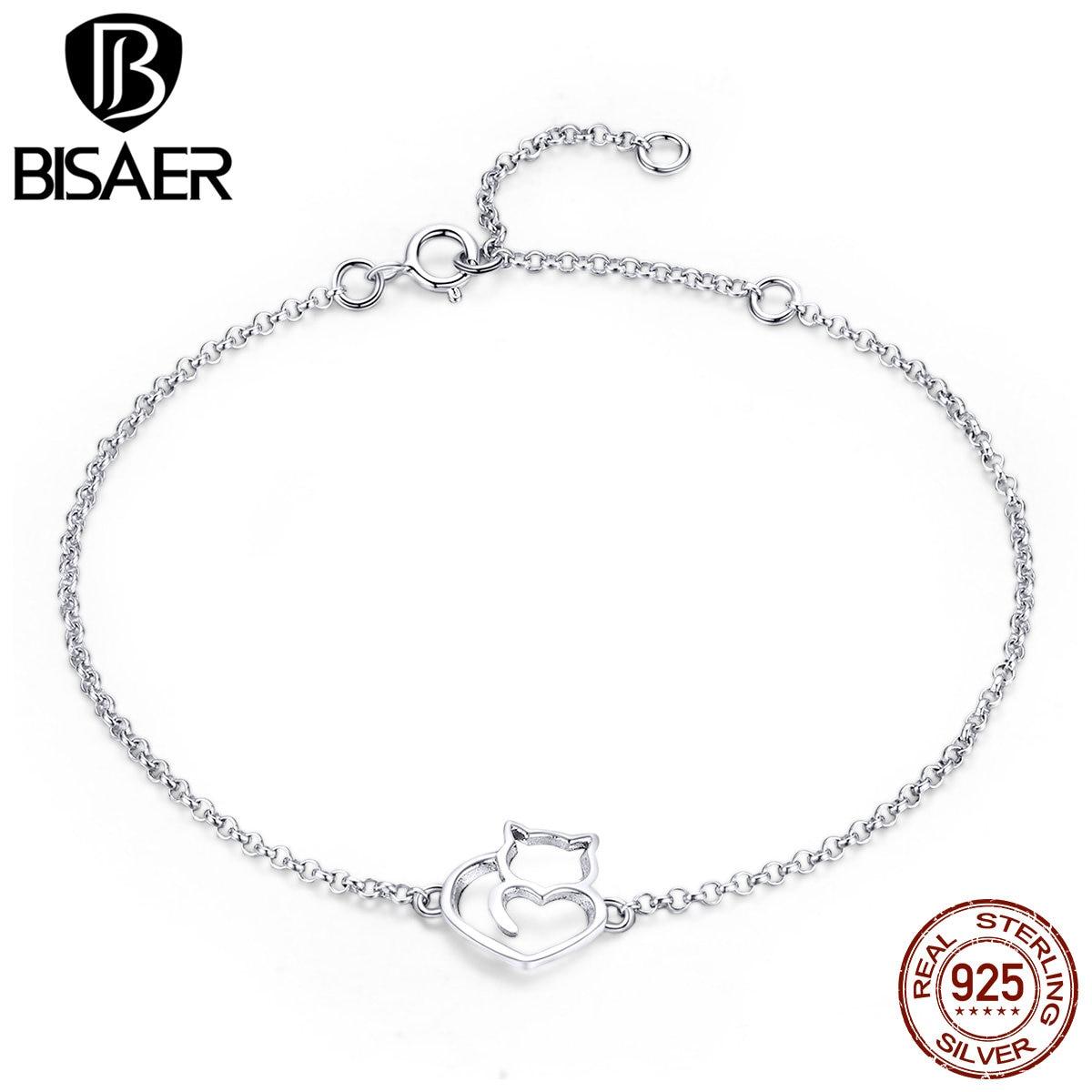 BISAER 925 Sterling Silber Kette Link Katze Einfache Tier Femme Armbänder Armreifen für Frauen Pulseira Silber 925 Schmuck ECB102