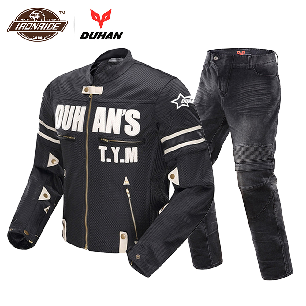 DUHAN Motorcycle Jacket Breathable Moto Jacket Men's Motocross Clothing Motorcycle Suit Motorcycle Pants for Summer duhan motorcycle jacket waterproof moto jacket men s motocross clothing motorcycle suit with elbow shoulder back ce protector