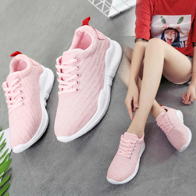 Women Shoes Flat Walking Sports Fitness Shoes Breathable Knit Platform Shoes For Women Vogue Jogging Comfortable Sneaker