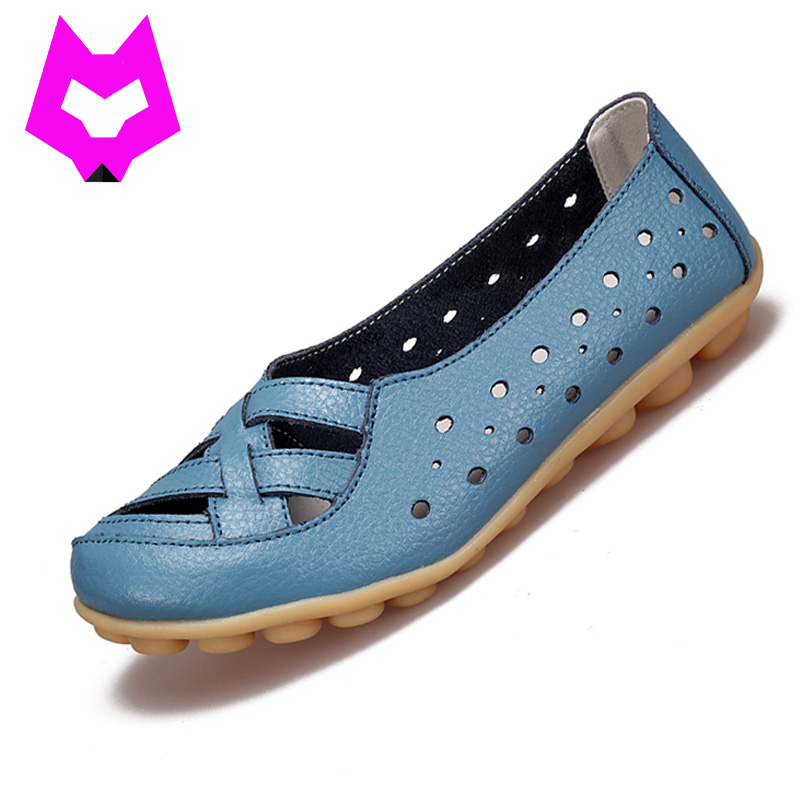 2017 Fashion Genuine Leather Breathable Casual Loafers Shoes Women Sandals Summer Shoes Flats with Hollow Out Plus Size 34-44 summer sandals women leather breathable mesh outdoor super light flats shoes all match casual shoes aa40140