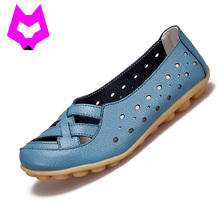 2017 Fashion Genuine Leather Breathable Casual Loafers Shoes Women Sandals Summer Shoes Flats with Hollow Out Plus Size 34-44