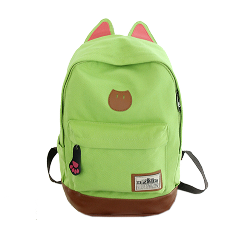 все цены на Canvas Backpack For Women Girls Satchel School Bags Cute Rucksack School Backpack children Cat Ear Cartoon Women Bags Red