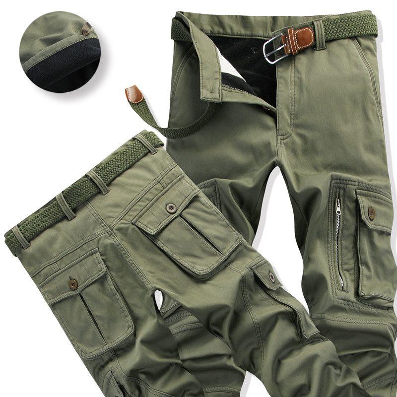 Мужские теплые штаны для Зима толстые Брюки карго Повседневная Верхняя одежда карманов Мотобрюки Большой размер 40 модные мешковатые штаны ... ...