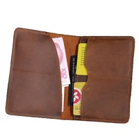 Vintage Crazy Horse Genuine Cowhide Leather Casual Style Women Men S Passport Cover Credit ID Card