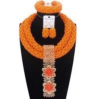 2019 Ladies Jewellery Set Orange Bold Designer Godki Bridal Jewelry Sets Handmade Crystal Beads Necklace Set Free Shipping Dubai