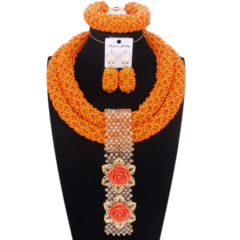 2019 dames bijoux ensemble Orange audacieux Designer Godki mariée bijoux ensembles à la main cristal perles collier ensemble livraison gratuite dubaï