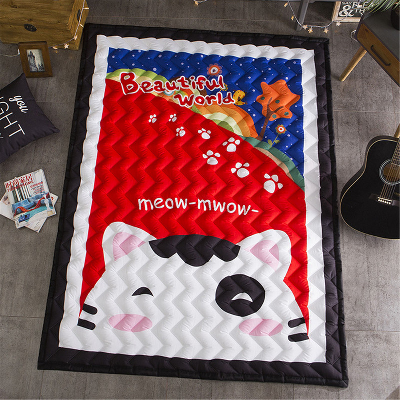 Cartoon boys girls game carpet 2 sizes cotton mats elephant baby child playmat 145*195cm rug blanket 1.5cm 2.5cm house floormat bears floormat cartoon playmat boys girls game carpet animals blanket baby child 2 5cm rug skidproof yoga 150 200cm picnic mat