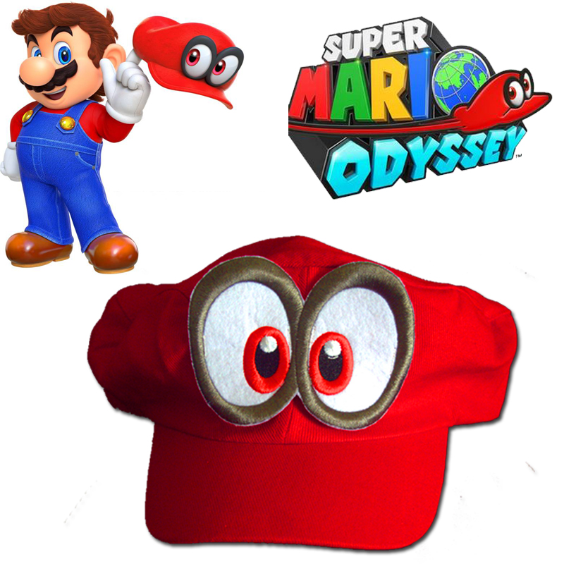 High Quality Halloween Kids New Super Mario Cosplay Hat Red Odyssey Mario Cap Wearable Baseball Caps Unisex Adjustable red Hat