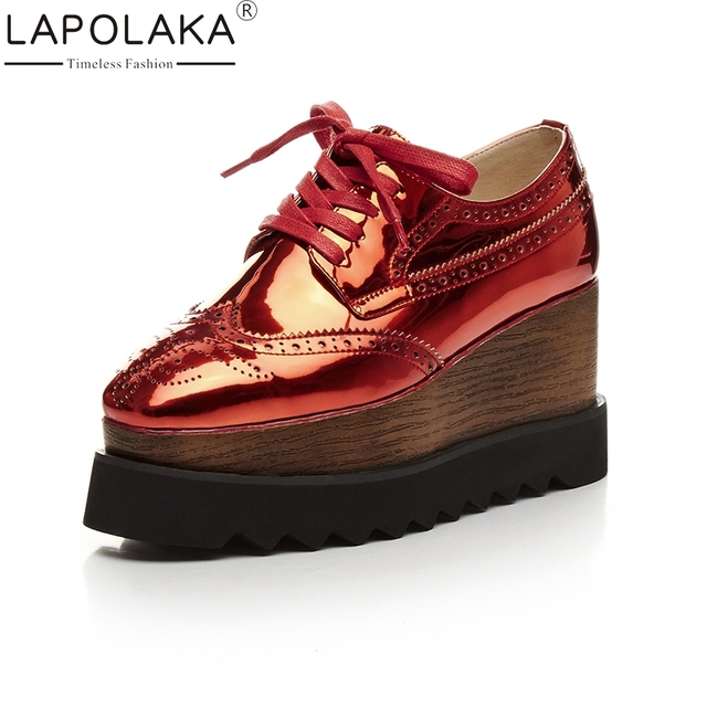 LAPOLAKA Large Size 33-42 Genuine Leather Platform Women Vulcanize Shoes Fashion Wedges High Heels Casual Brogue Woman Shoes