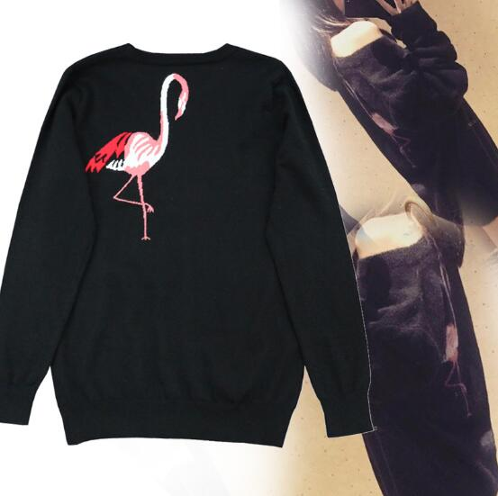 2017 Autumn Runway Designer Women Sweater Pullover Handmade Sequins Blusa Bordada Flamingo Sweaters Winter Knitted Top Jumper