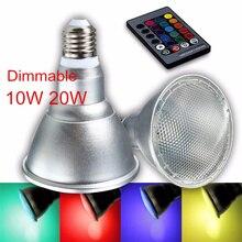 Dimmable 10W 20W PAR30 PAR38 E27 RGB LED Light Color Changing Bulb Spot Flood Lamp With Remote Control AC110V 220V