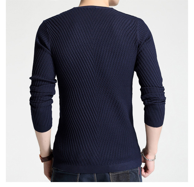 Male Slim V Neck Long Sleeve Oblique Stripes Ribbed Knit Cotton Cashmere Sweaters Jumper Pullover Knitwear  in Winter for M