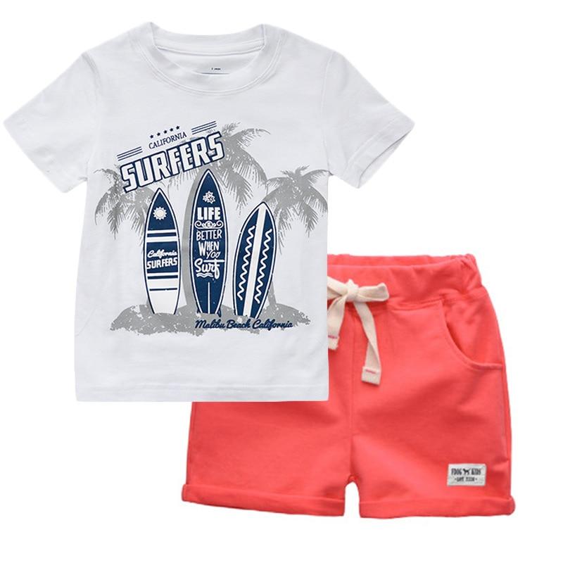 BINIDUCKLING Boys Children Summer O-Neck Print Short Sleeve T-Shirt Top Pants Sets Beach Kid Baby Cotton Cartoon Sets