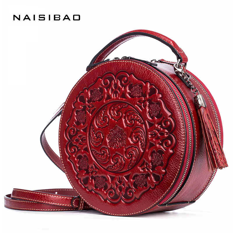 Genuine Leather Women Messenger Bags Chinese Style Classical Elements Designer Women Bags Shoulder Bag Clutch Female Purse sac