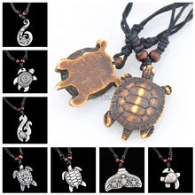 Drop shipping Men Women's Imitation Yak Bone Cute Tortoise Hawaii Tribal Surfer Sea Turtles Charms Pendant Necklace amulet Gifts(China)