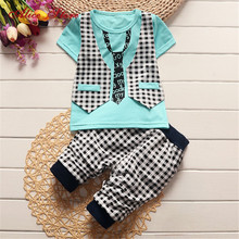2018 Summer baby boys clothing set toddler children sport suit set 2Pcs lattice gentleman tracksuit kids boys summer set