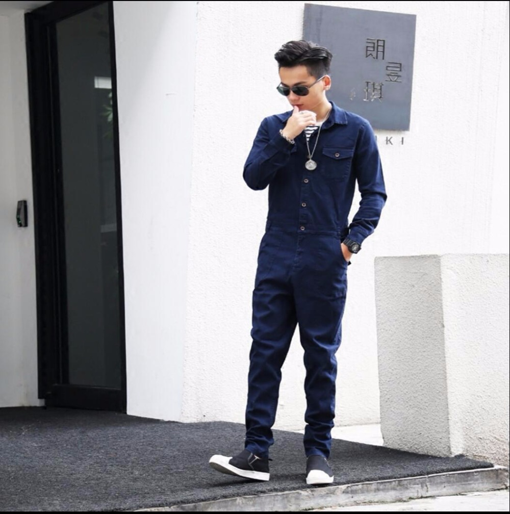 Men's Clothing S-2xl Hip-hop Denim Jumpsuit Men Hole Nine Pants Korean Version Of The Tide Youth Couple Slim Strap Jeans Hairstylist Bib Pants 100% High Quality Materials