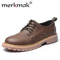 Merkmak New Fashion Italian Men Shoes Luxury Classic Men Leather Shoes Men Oxfords Designer Waterproof Martin