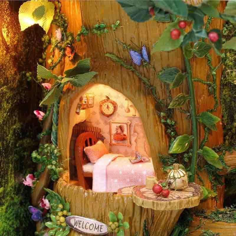 Собрать DIY Кукольный дом игрушки деревянные Miniatura кукольные домики миниатюрные кукольные игрушки с мебельными комплектами для детей подарок-коричневая рамка