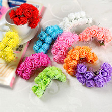 12Pcs 2cm Diameter Head Multicolor PE Rose Foam Mini Artificial silk Flowers Bouquet Solid Color For Wedding Decoration Wreaths