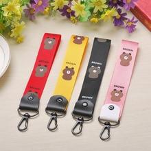 Creative Cute Cartoon Mobile Phone Shell Wrist Lanyard Keychain Universal Hanging Neck Braided Ornaments Key Rings