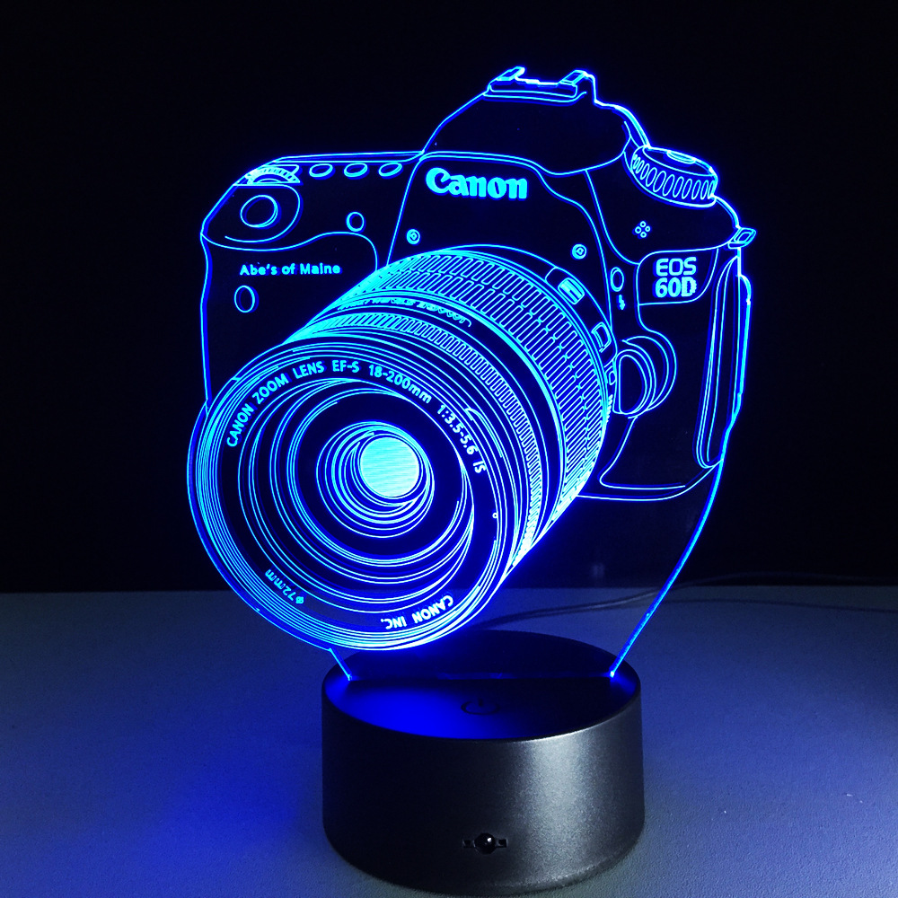 Novelty 3D Lamp Camera Illusion lamp 7 color changing visual illusion LED light Camera decro toy action figure birthday gift