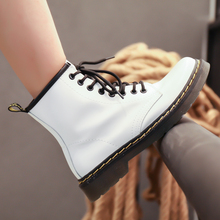 2018 Real Leather Martin Boots Female  New Style Woman Couple British Restoring Ancient Ways Ankle Snow 5