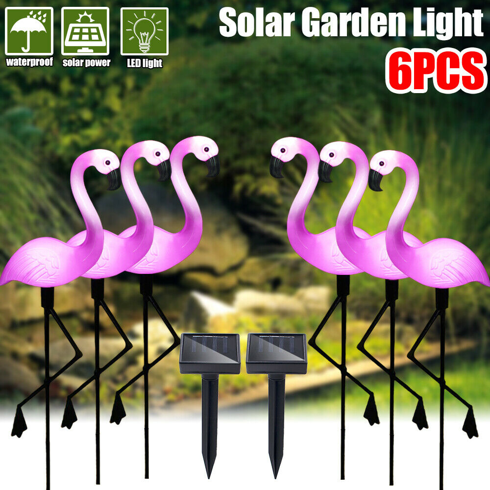 6Pack Solar Flamingo Stake Light Lantern Solar Powered Pathway Lights Outdoor Waterproof Garden Decorative Lawn Yard Lamp