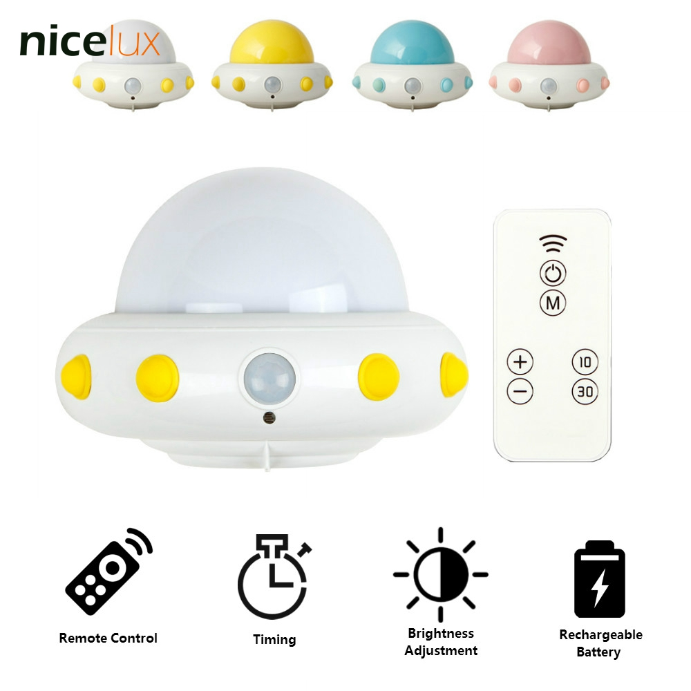 Novelty LED 5V UFO Night Light USB Rechargeable Battery Remote Control Brightness Dimmable Bedside Baby Feeding Lamp Wall Light novelty led night light wireless remote control dimmable night lamp rgb kids children desk table lights usb 5v