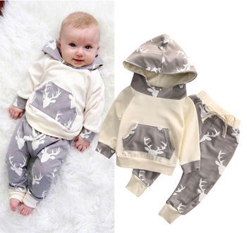 Toddler Kids Baby Boys Clothes Deer Hooded Tops Jacket +Pants Outfits 2PCS Set одежда на маленьких мальчиков