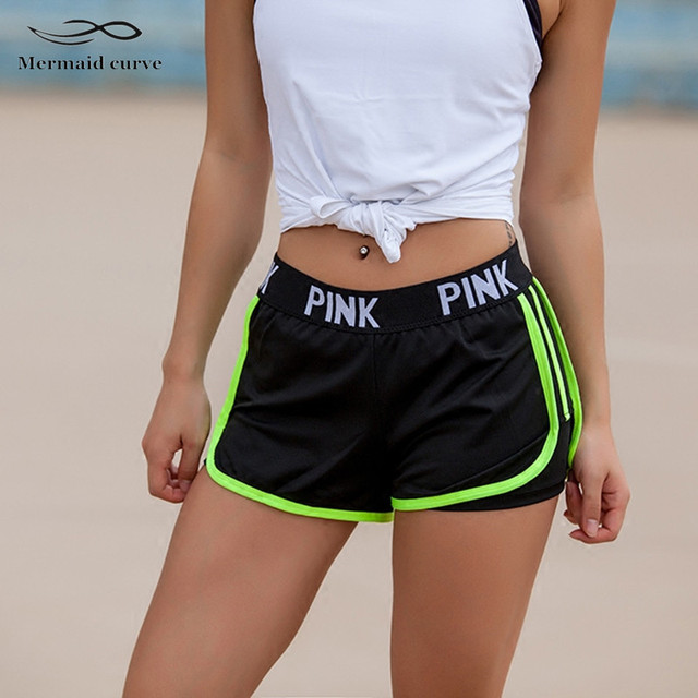 2017 Letter PINK Sports Gym Shorts Women Yoga Shorts Push Hips Sexy Middle Waisted Gym Fitness Elastic Quick Dry Running Shorts