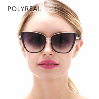 POLYREAL Vintage Oversized Cat Eye Sunglasses Women Fashion Famous Brand Designer Cateye Mirror Sun Glasses For