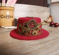 Gothic Ladies Steampunk Mini Top Hat Red Halloween Fancy Dress Custume Hats With Gears Chain Accessories