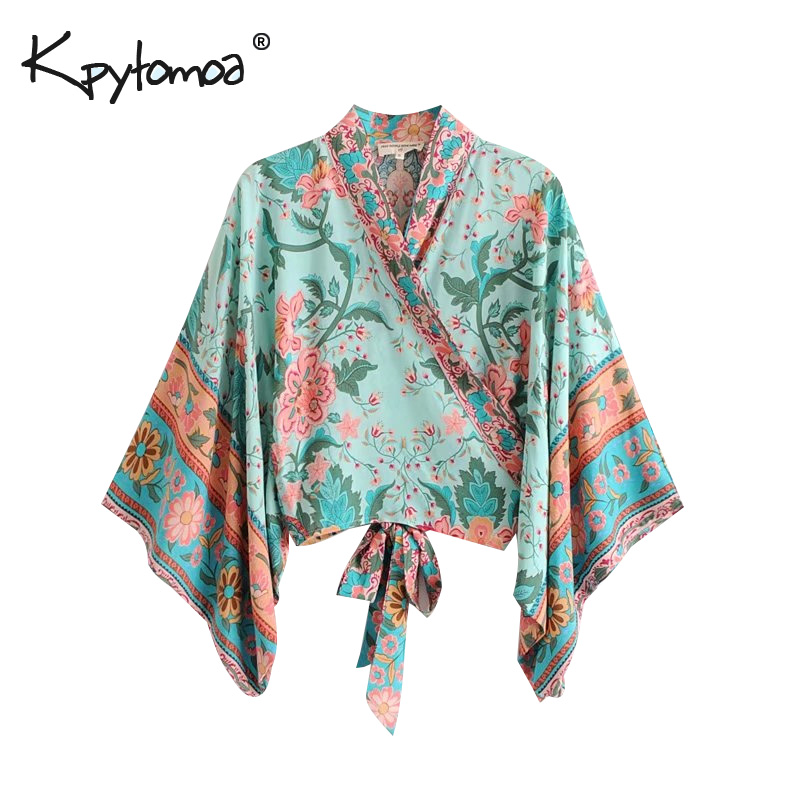 Boho Chic Summer Short Tops Vintage Peacock Floral Print Kimono Women 2019 Fashion Batwing Sleeve Beach   Shirt     Blouse   Blusa Mujer