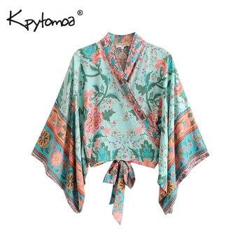 a26c6c2df Boho Chic verano Tops cortos Vintage Pavo Real estampado Floral Kimono Mujer  2019 moda manga murciélago playa camisa Blusa Mujer