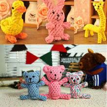 New Hot Baby Hand knitting Puppets Animal Duck Bear Tough Strong Baby Chew Knot Teddy Toy Pet Puppy Healthy Teeth Cotton Rope UK