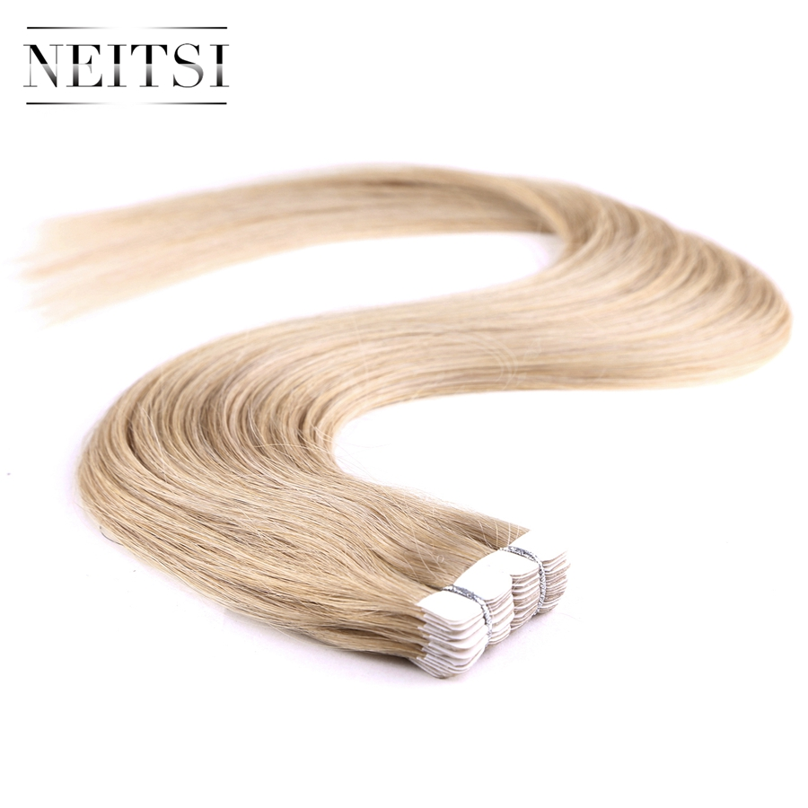 Neitsi Mini Tape In Remy Human Hair Brazilian Straight Virgin Remy Hair Extensions 20 18K 40pcs