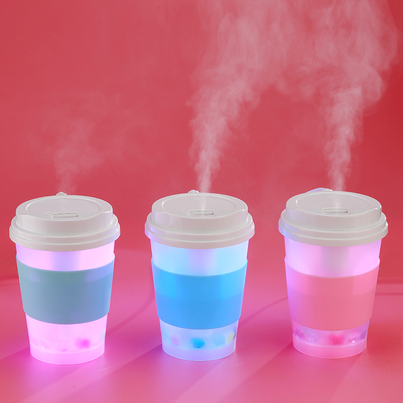 Milk Tea Cups Humidifier mini USB Home Office Color LED Air Purifier Atomizer Aroma Essential Oil Diffuser Mist Maker