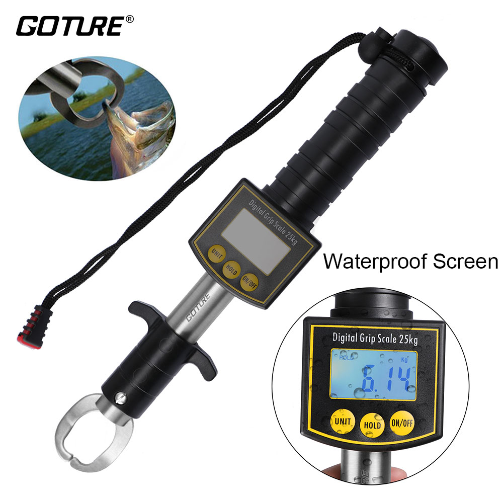 Goture Portable Fish Lip Gripper Grabber Fishing Grip Tackle Pliers Stainless Steel Clip Fish Holder Knife with Scale Ruler