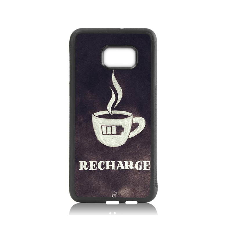 Luxury High-end tpu soft black phone Accessories Charge coffee low battery For case GALAXY s6 edge plus