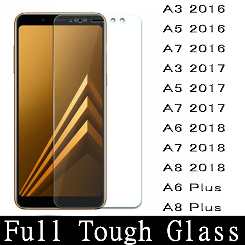 For Samsung Galaxy A6 A7 A8 2018 Tempered Glass Protective Film For Samsung A3 A5 A7 2016 2017 Screen Protector A6 A8 Plus Glass