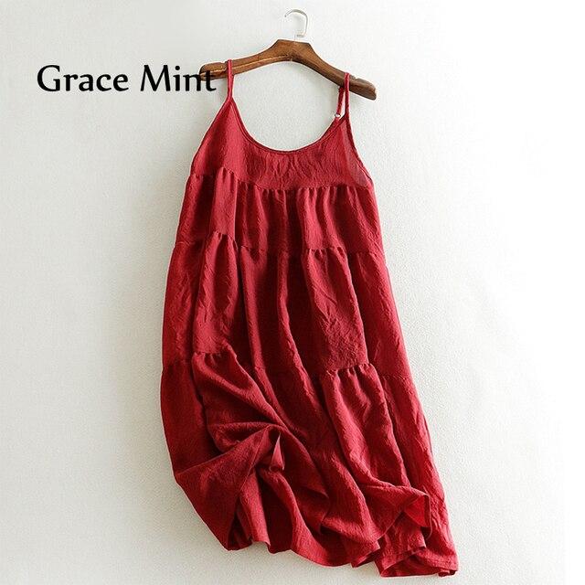 617b93e3a3 Warstwowych Sukienka Kobiety Lato Sukienka Jednolity Kolor Spaghetti Pasek  Warstwowe Sukienki Bawełniane i Lniane