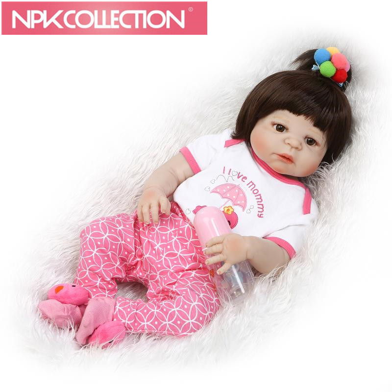 NPK 22 Inch Collectible Reborn Baby Doll Soft Silicone Lifelike Newborn Girl Babies Children Birthday Xmas Gift  N275-8 handmade 22 inch newborn baby girl doll lifelike reborn silicone baby dolls wearing pink dress kids birthday xmas gift