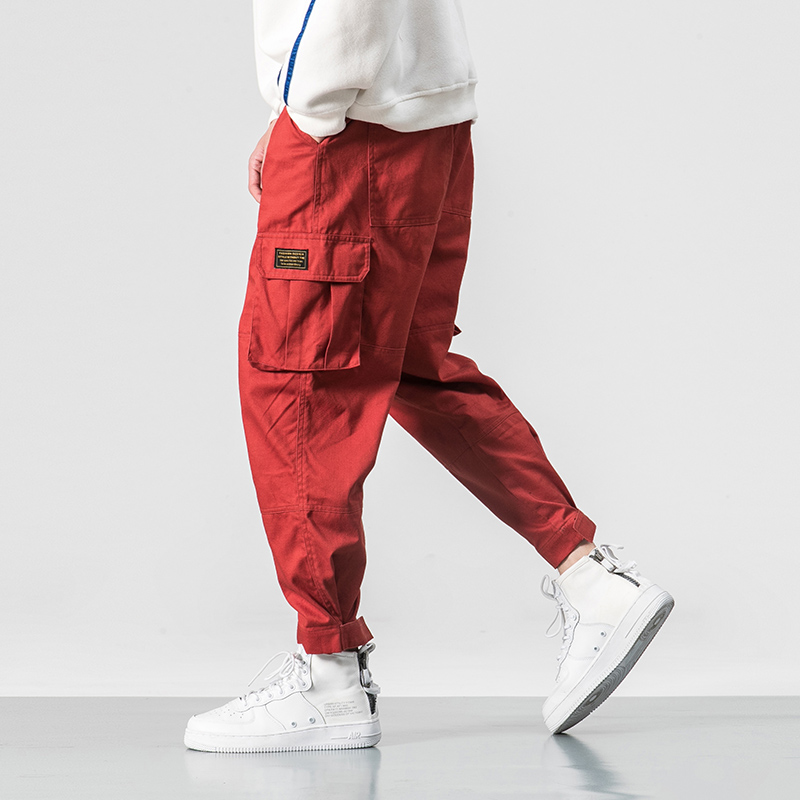 Cotton Men Multi-pocket Elastic Waist Design Harem Pant Street Punk Hip Hop Red Casual Trousers Joggers Male Army Cargo Pants
