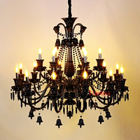 Crystal Chandelier Black Shade Candle Chandeliers Bedroom Black Chandelier Modern Blown Glass Chandelier Lighting Living Room